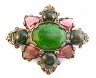 Vintage Large Faux Bloodstone Amethyst And Jade Scottish Celtic Style Brooch By Miracle.